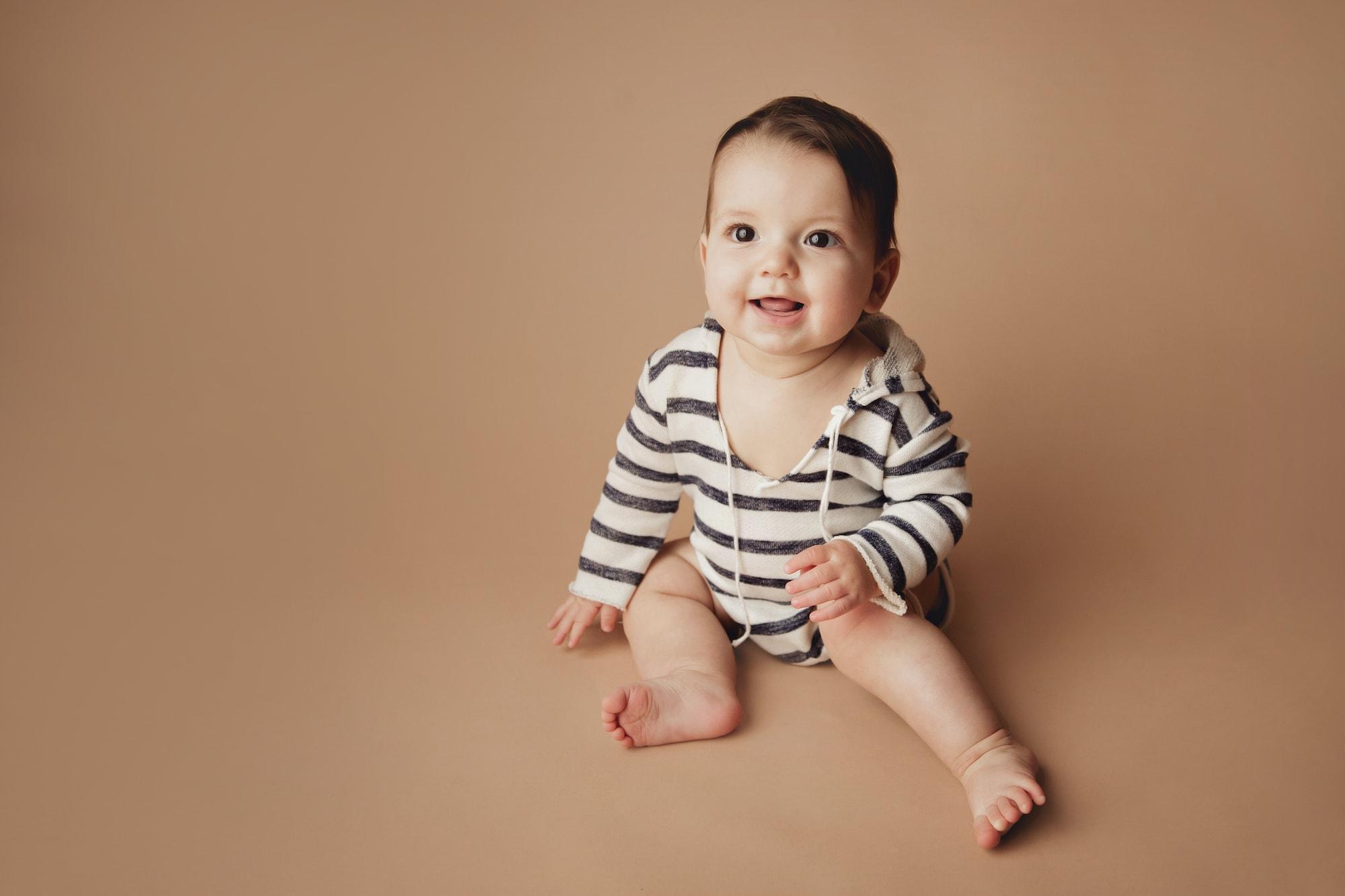 Baby in striped onesie